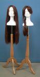 3435 base legno trepiedi testa donna polistirolo parrucca treccia sciolta