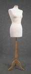 5065 manichino donna tessuto bianco base trepiedi regolabile legno chiaro