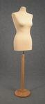 5465 manichino sartoriale busto cucito spillabile polistirolo donna base tonda liscia legno chiaro
