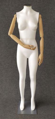 001 S05BL - Manichino donna pvc braccia di legno