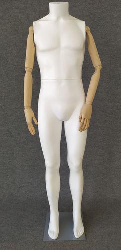 001 S06BL - Manichino uomo pvc braccia di legno