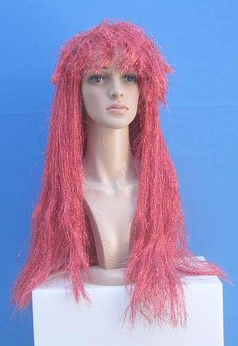 001 SC0138 - Parrucca rossa argentata con capelli lunghi