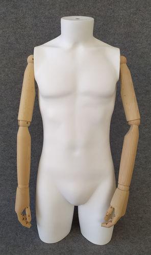 001 TS06BL - Torso uomo pvc braccia di legno