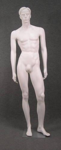 011 RALF LA - Manichino in plastica uomo con capelli scolpiti, braccia diritte, base inclusa, colore BIANCO LATTE