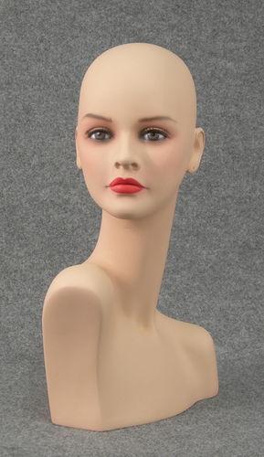 011 TESTA PORTAPARRUCCA - Testa portaparrucche realistica con make up