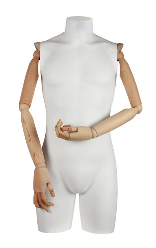 011 TS06BL - Torso uomo pvc braccia di legno