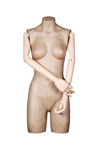 011 TSCA05BL - Busto per abbigliamento donna cartapesta braccia legno