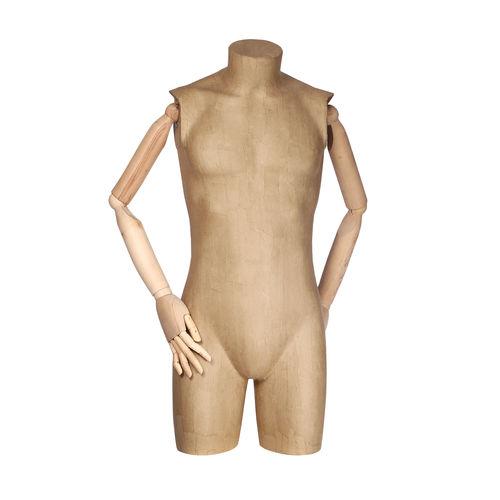011 TSCA06BL - Busto per abbigliamento uomo cartapesta braccia legno