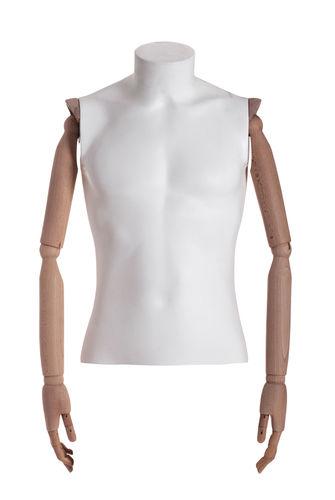 011 TW06BL - Busto uomo pvc braccia di legno