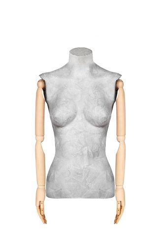 011 TWCA05BL - Busto per abbigliamento donna cartapesta braccia legno