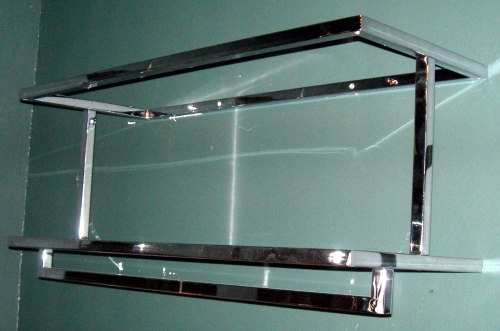 012 STENDER A MURO CUB100APCH - Stender a parete a due piani e appenderia (ripiani in vetro non forniti)