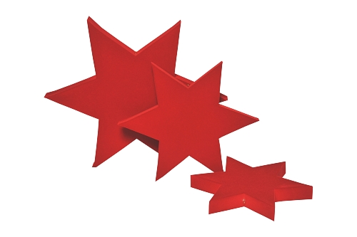 015 107 SERIE 3 STELLE BOX - Confezione serie tre stelle in poliuretano floccato 12pz.
