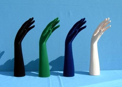 015 15 MANO DONNA FLOCCATA - Confezione mano per bigiotteria in plastica floccata 40pz.
