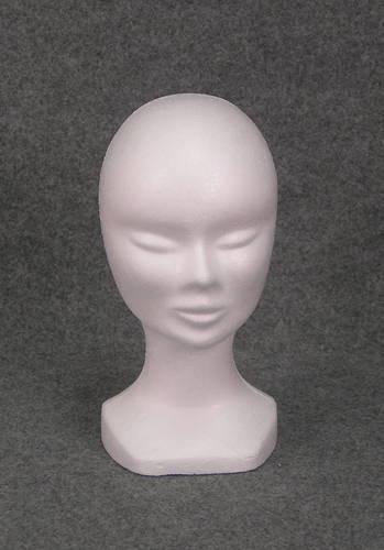 015 1 TESTINA DONNA GREZZA BOX50 - Confezione testina in polistirolo per parrucche e cappelli