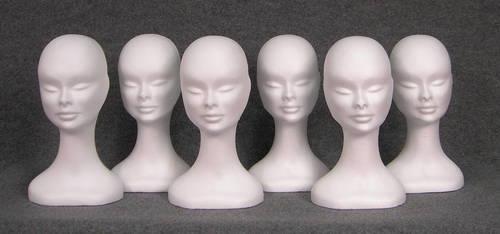 015 3 TESTINA BELFAGOR GREZZA BOX6 - Confezione 6 pz. testina in polistirolo per parrucche e cappelli