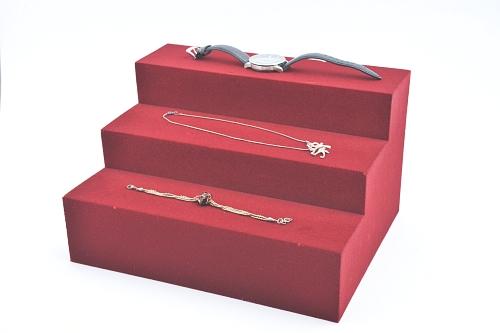 015 44 ESPOSITORE SCALETTA BOX - Confezione espositore scaletta in poliuretano floccato 16pz.
