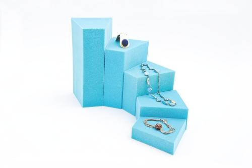 015 63 ESPOSITORE TRAPEZIO BOX - Confezione espositore componibile trapezio in poliuretano, floccato 10pz.