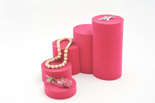 015 75 ESPOSITORE ROTONDA PICCOLA BOX - Confezione espositore componibile rotonda piccola in poliuretano floccato 10pz.