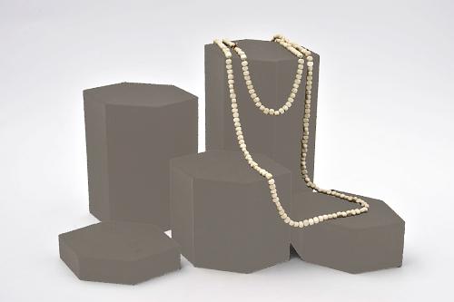 015 79 ESPOSITORE ESAGONALE PICCOLA BOX - Confezione espositore componibile esagonale piccola in poliuretano floccato 10pz.