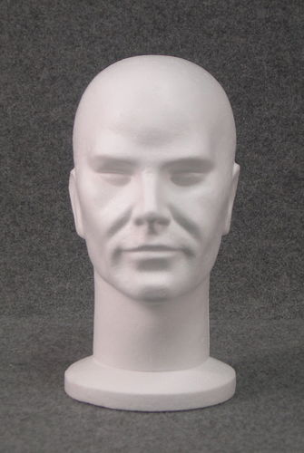 015 8 TESTINA UOMO GREZZA BOX - Confez. teste da uomo in polistirolo per parrucche e cappelli