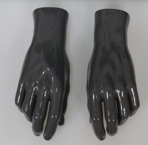 025 COPPIA MANI U GRIGIO - Coppia di mani in fibra di vetro da uomo colore grigio scuro lucido