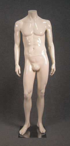 025 HU 04 AV - Manichino senza testa uomo in fibra di vetro avorio