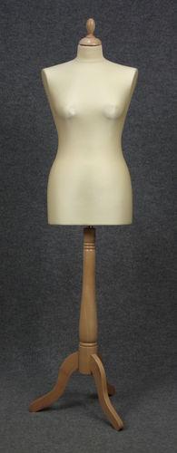033 MANICHINO SARTORIA DONNA 3PLE - Busto sartoria donna ecru con base 3 piedi legno naturale tappo liscio