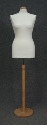 033 MANICHINO SARTORIA DONNA BI TOLE - Busto sartoria donna bianco con base tonda legno naturale tappo liscio