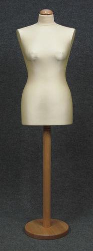 033 MANICHINO SARTORIA DONNA EC TOLE - Busto sartoria donna ecru con base tonda legno naturale tappo liscio