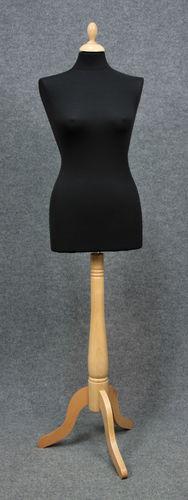 033 MANICHINO SARTORIA DONNA NE 3PLE - Busto sartoria donna con base tre piedi in legno tappo pomello