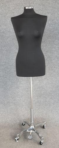 033 MANICHINO SARTORIA DONNA RUOTE CH - Busto sartoria donna nero con base ruote cromata