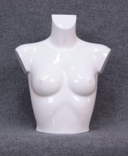 035 BUSTO 13D BILV - Busto colore bianco lucido verniciato da donna in plastica con spalle