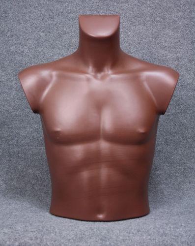035 BUSTO 14U CU - Busto colore cuoio da uomo in plastica con spalle
