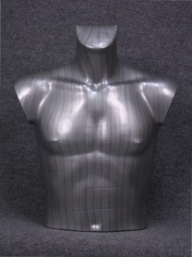 035 BUSTO 14U SL - Busto colore silver da uomo in plastica con spalle