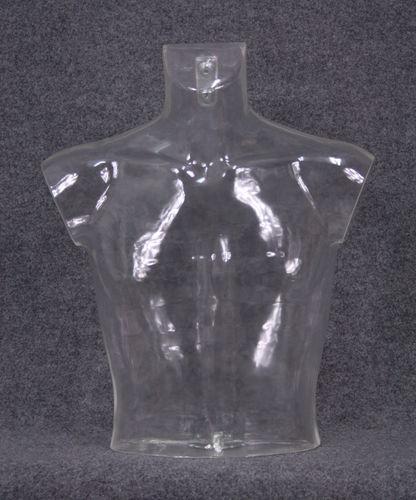 035 BUSTO 14U TR - Busto trasparente da uomo in plastica con spalle