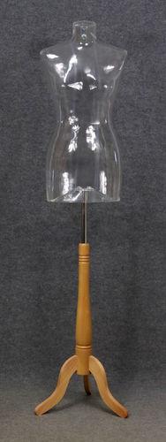 035 BUSTO SWING 2D TR BASE - Busto trasparente con base da donna in plastica con spalle