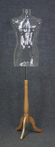 035 BUSTO SWING 2U TR BASE - Busto trasparente con base da uomo in plastica con spalle