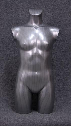 035 TORSO 11B SL - Torso colore silver da ragazza in plastica con spalle