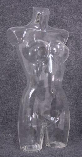 035 TORSO 269D TR - Torso trasparente da donna con seno grande in plastica con spalle