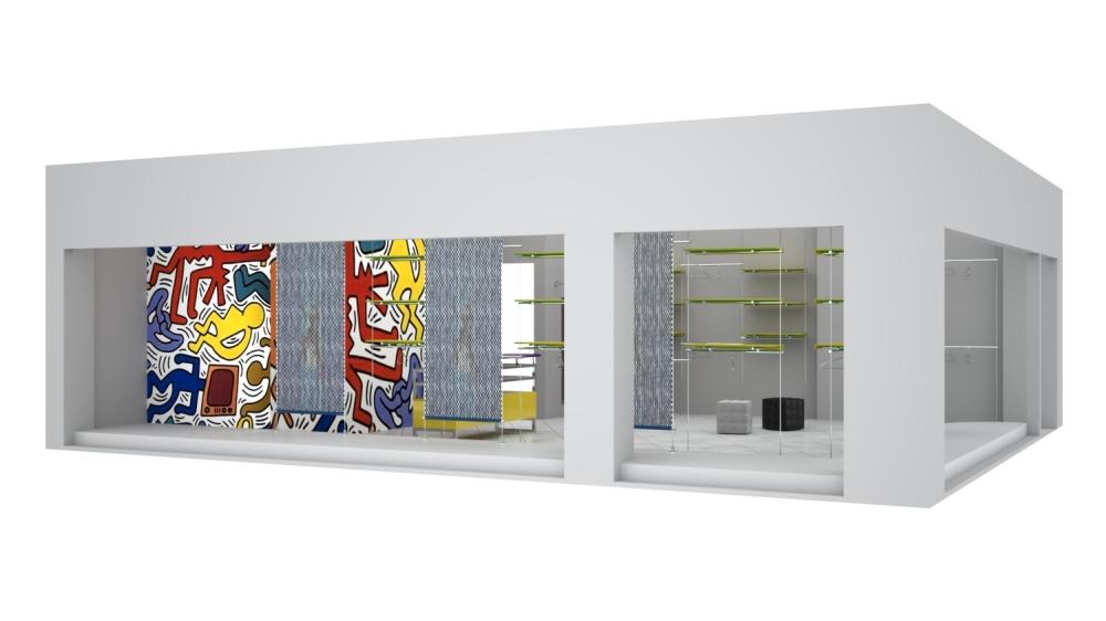 Foto g 1396 rendering arredamento negozi ripiani parete for Rendering arredamento