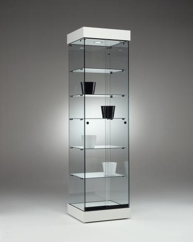 0655 vetrina ripiani vetro faretto arredamento espositore for Vetrina in vetro