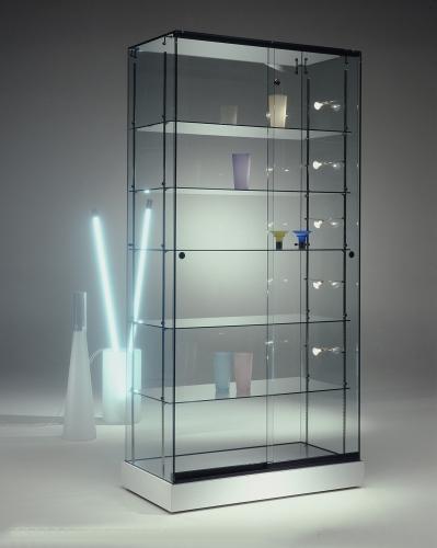 0657 vetrina ripiani vetro faretti arredamento espositore for Vetrina in vetro