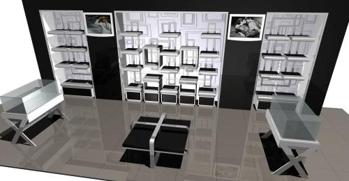 1186 rendering arredamento negozi tavolino vetrina espositori for Tavolino con vetrina
