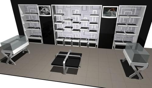1189 arredamento negozi rendering ripiani vetrina tavolini for Rendering arredamento