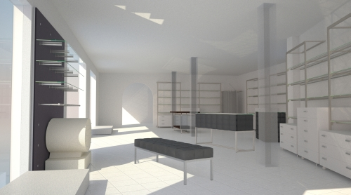 1393 arredamento negozi rendering parete ripiani panca for Rendering arredamento