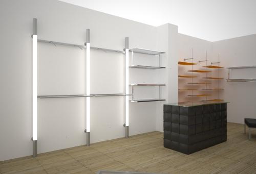 1402 montante luminosi arredamento negozi banco vendita for Arredamento vendita