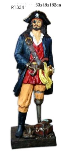 3531 r1334 pirata resina con uncino e gamba legno